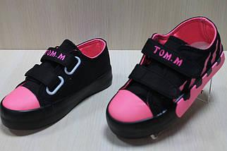 Модные детские кеды криперы на двух липучках для девочки цвет черный с розовым тм Том.м р.26, фото 3