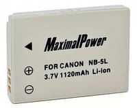 Аналог Canon NB-5L (MaximalPower 1120mAh). Аккумулятор для Canon IXUS, IXY, PowerShoot серии
