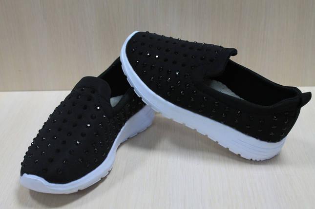 Чёрные слипоны для девочки спортивные мокасины тм Jong Golf р.30, фото 2