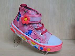 Кеды высокие детские на девочку розовые текстильная обувь р.29, фото 2