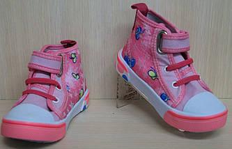 Кеды высокие детские на девочку розовые текстильная обувь р.29, фото 3