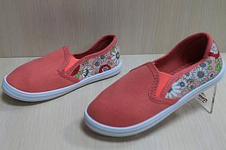 Мокасины для девочек детская текстильная спортивная обувь р. 25, фото 2