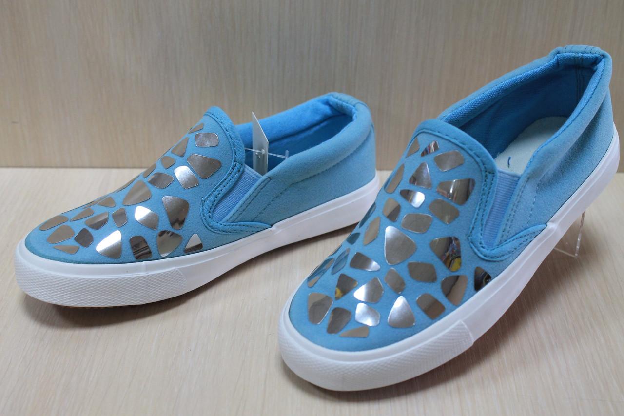 Детская обувь мокасины на девочку голубые с блистинками р.32