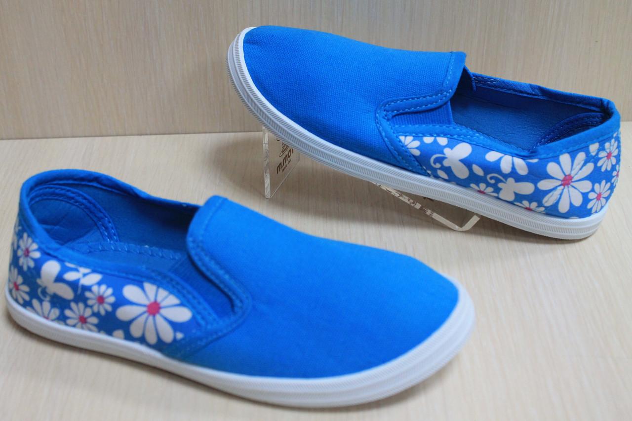 Детские мокасины для девочек голубые в цветочек р.33