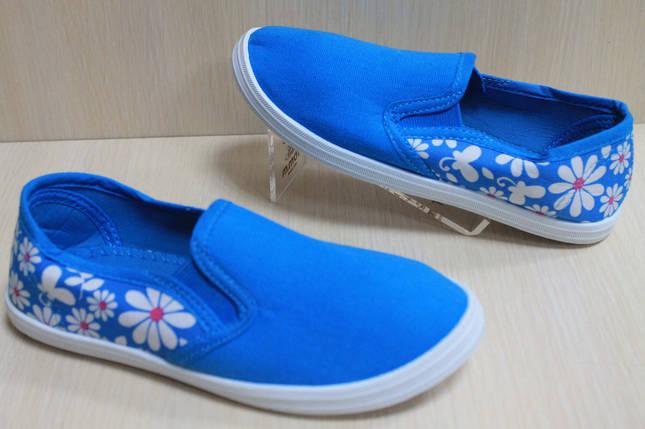 Детские мокасины для девочек голубые в цветочек р.33, фото 2