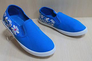 Детские мокасины для девочек голубые в цветочек р.33, фото 3