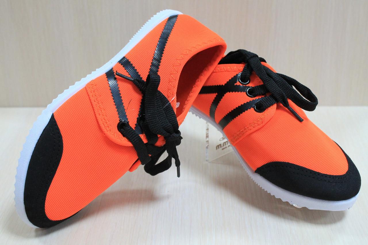 Детские кеды для девочек оранжевые подростковые мокасины спортивная удобная обувь р.31