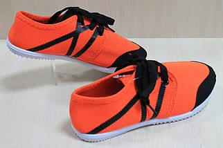 Детские кеды для девочек оранжевые подростковые мокасины спортивная удобная обувь р.31, фото 3