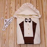 """Демисезонный конверт-одеяло для новорожденных """"Аристократ"""" (шоколадный), фото 2"""