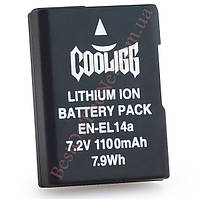 Аналог Nikon En-El14+ (Cooligg 1100mAh - 100% совместимость). Аккумулятор для Nikon D3200, D3300, D5200, D5300, P7100, P7800, Df