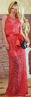 Платье гипюровое в пол Колдовство красное