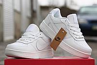 Женские кроссовки Nike Airforce, пресс кожа, белые / кроссовки женские Найк Аирфорс, модные