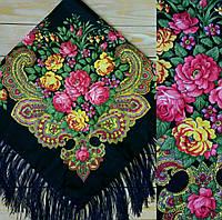 Красивый женский платок с цветами (90х90см, тёмно-синий, 80%-шерсть)