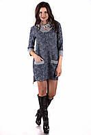 Теплое женское синее платье  SO-13130-BLU ТМ Alpama 44-48 размеры
