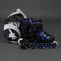 """Ролики 6006 """"L"""" Blue - Best Rollers /размер 39-42/ (6) колёса PU, без света, d=7.6см"""