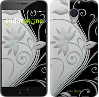 """Чехол на Meizu M5 Note Цветы на чёрно-белом фоне """"840c-447"""""""