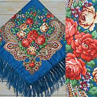 Стильний платок для девушек с цветами (90х90см, синий, 80%-шерсть)