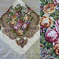 Женский кремовый платок с цветами (90х90см, шампань, 80%-шерсть)