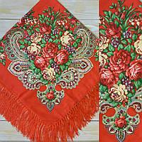 Женский красный платок с цветами(90х90см, красный, 80% шерсть)
