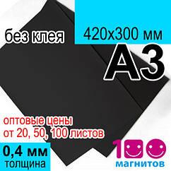 Магніт листової без клейового шару, товщина 0,4 мм. Формат А3 (420х300 мм)