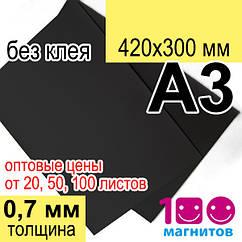 Листовий магнітний вініл, товщина 0,7 мм без клейового шару. Формат А3