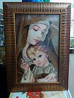Картина вышитая бисером Мадонна с младенцем