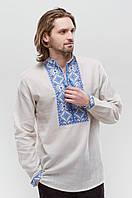 Льняная мужская вышиванка Берегиня Синяя 50