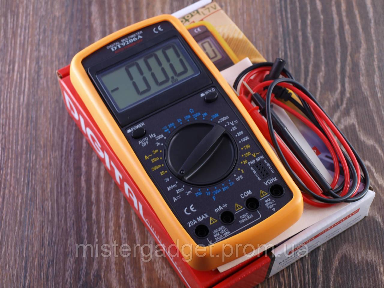 Мультиметр цифровий DT 9206 20А, Тестер DT-9206A