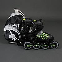Ролики Best Rollers (размер 35-38) колёса PU, без света, d=8,4см. Цвет зеленый