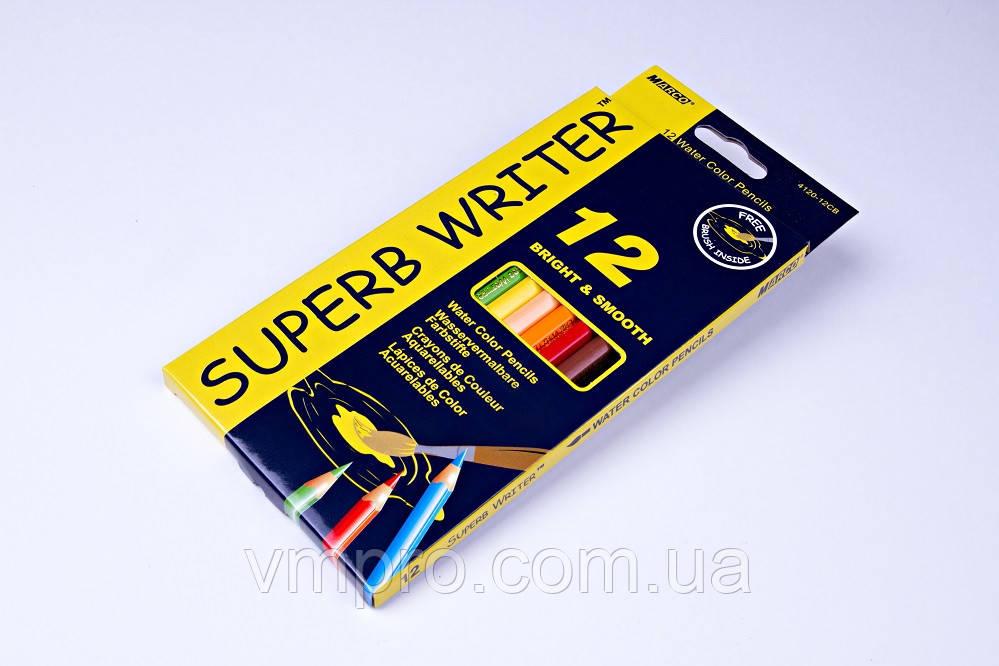 """Акварельні олівці кольорові""""MARCO"""" Superb Writer,№4120-12CB (12 кольорів+пензлик)"""
