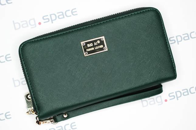 Кошелёк женский SuoAi Fashion Leather, тёмно-зелёный, фото 2