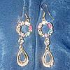 Сережки люстры с разноцветными камнями