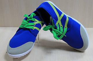 Синие подростковые кеды мокасины р.32, фото 3
