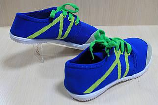 Синие подростковые кеды мокасины р.32, фото 2