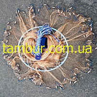 Кастинговая сеть парашют американского типа с большим кольцом из (нити)