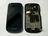 Дисплей (модуль) + тачскрин (сенсор) с рамкой для Samsung Galaxy S III Mini i8190 (синий цвет)