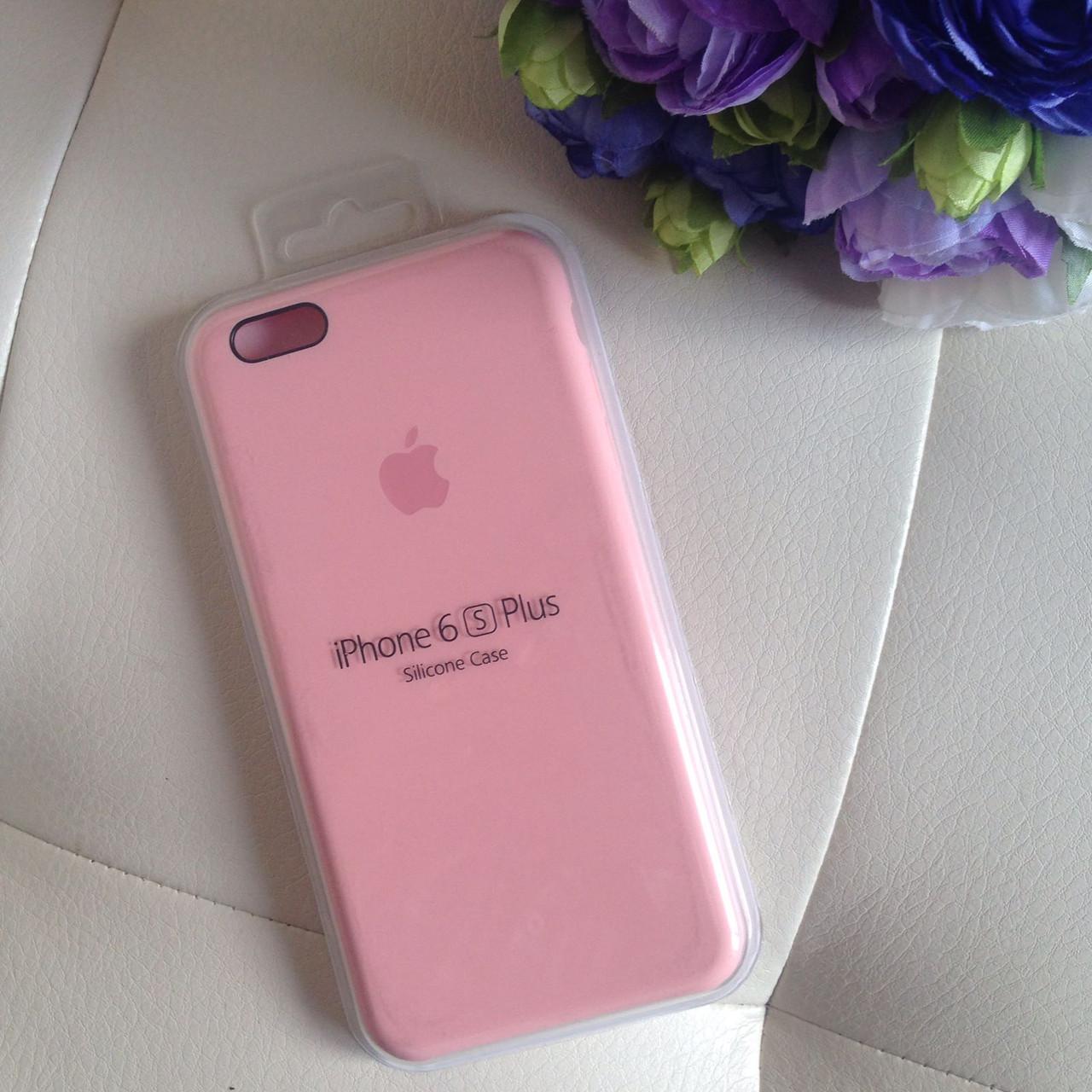 Оригинальный силиконовый розовый чехол для iPhone 6 plus/6s plus