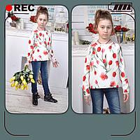 Весенняя блуза для девочек, 122 - 152 см. Красивая туника подростковая, детская.