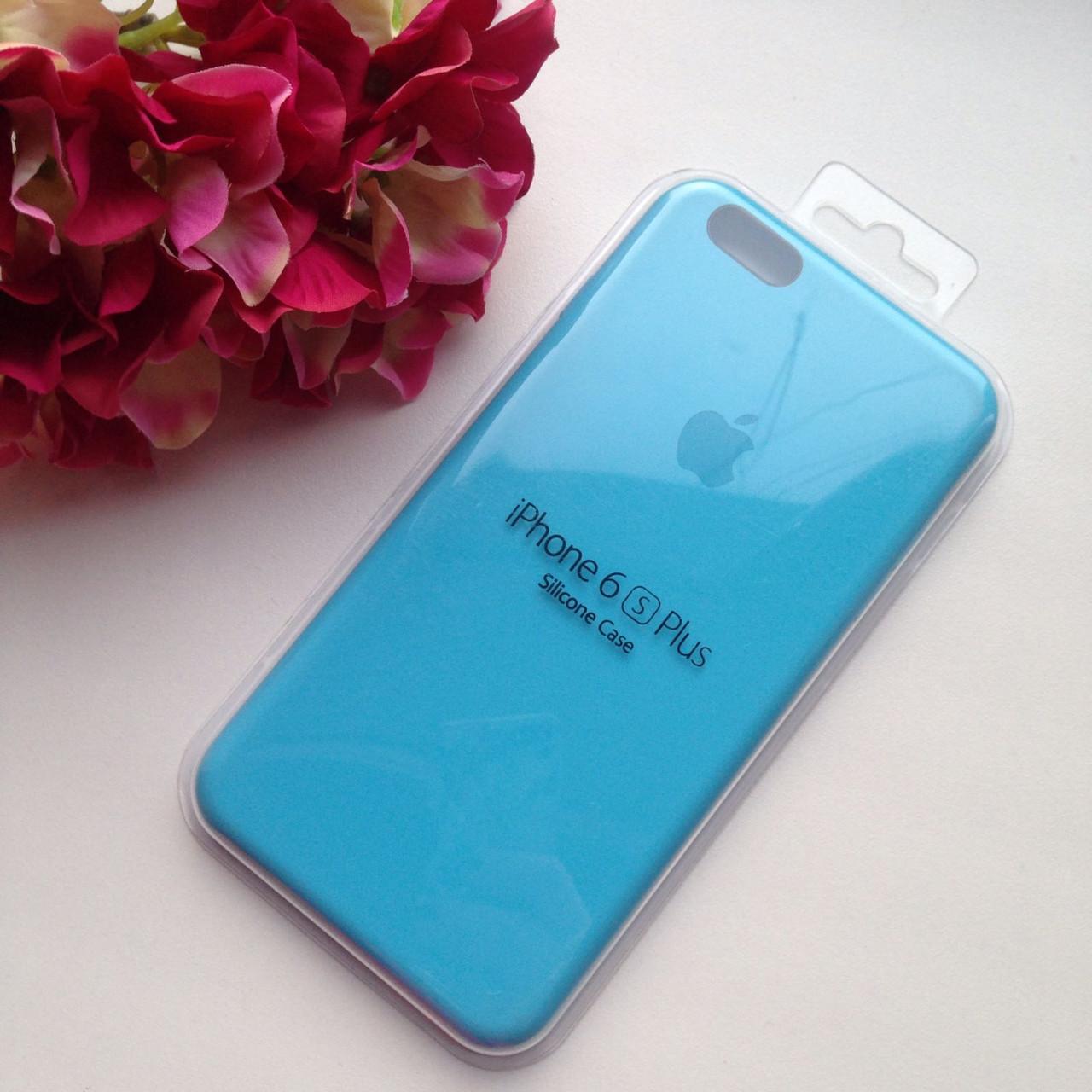 Оригинальный силиконовый голубой чехол для iPhone 6 plus/6s plus