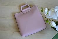 Кожаная сумка-шоппер цвета пудри