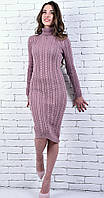 Вязаное платье под горло розовое 42 весна/осень