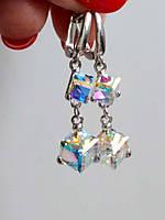 Серьги с кристаллами Сваровски 2 кубика, фото 1