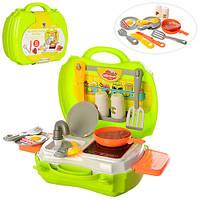 Кухня 14071A плита, сковородка, кухонный набор, яичница,в чемодане, 23-21-9,5см