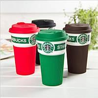 Керамічна кружка Starbucks / Старбакс 350 мл з силіконовою кришкою, фото 1