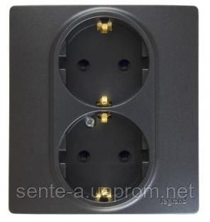 Механизм розетки (2х2К+З) 16A со шторками и самозажимными контактами 672633 антрацит Legrand Etika