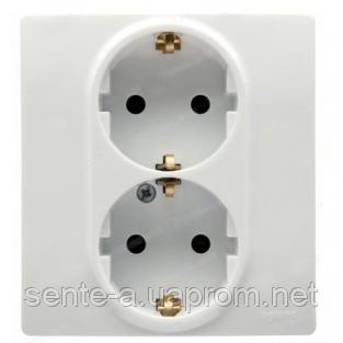 Механизм розетки (2х2К+З) 16A со шторками и самозажимными контактами 672233 белый Legrand Etika
