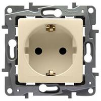 Механизм розетки (2К+З) 16А немецкий стандарт со шторками слоновая кость 672322 Legrand Etika