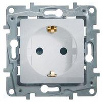 Механизм розетки (2К+З) 16А немецкий стандарт со шторкамии самозажимными контактами алюминий 672431 Legrand Etika