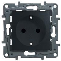 Механизм розетки (2К+З) 16А немецкий стандарт со шторками и самозажимными контактами антрацит 672631 Legrand Etika