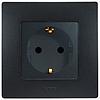 Механизм розетки (2К+З) 16А немецкий стандарт со шторками и самозажимными контактами антрацит 672631 Legrand Etika, фото 2
